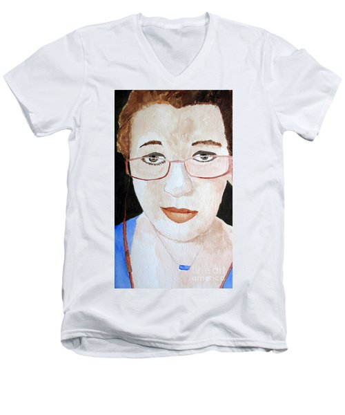 Men's V-Neck T-Shirt featuring the painting Addie Two by Sandy McIntire