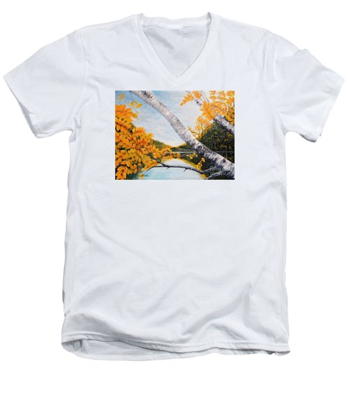 Adirondacks New York Men's V-Neck T-Shirt by Holly Carmichael