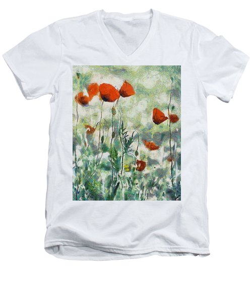 Men's V-Neck T-Shirt featuring the painting Affection by Joe Misrasi