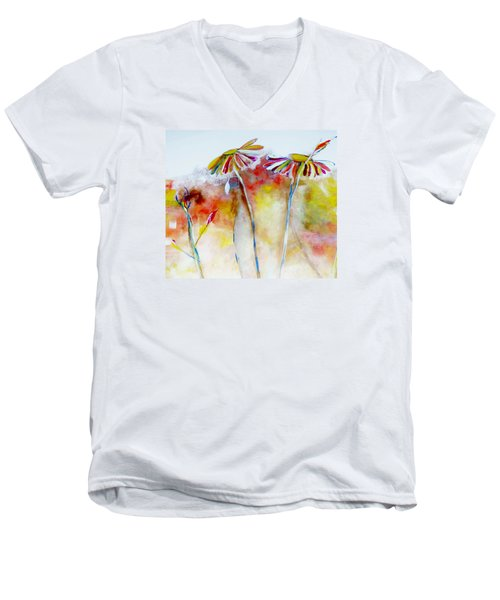 Men's V-Neck T-Shirt featuring the painting African Daisy Abstract by Lisa Kaiser