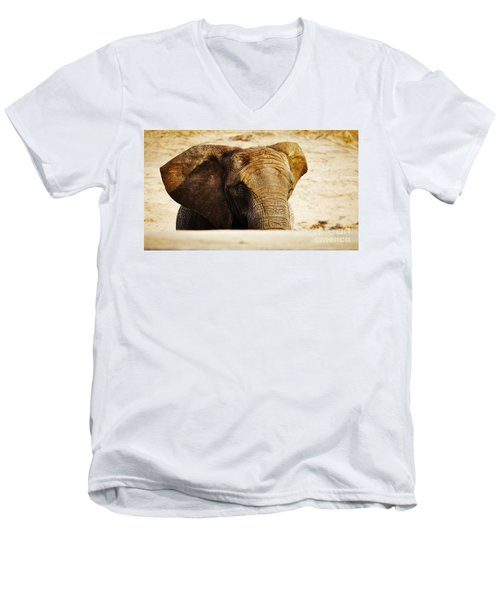 African Elephant Behind A Hill Men's V-Neck T-Shirt