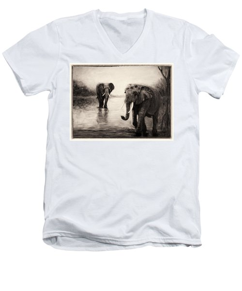 Men's V-Neck T-Shirt featuring the painting African Elephants At Sunset by Sher Nasser