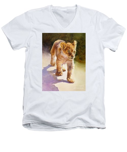 Men's V-Neck T-Shirt featuring the painting African Lion Cub by Bonnie Rinier