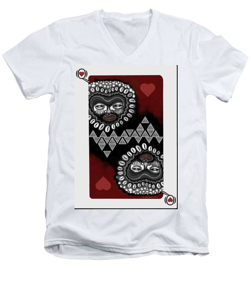 African Queen-of-hearts Card Men's V-Neck T-Shirt