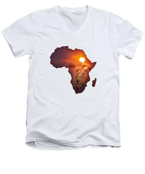 African Wildlife Map Men's V-Neck T-Shirt