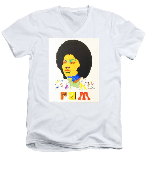 Men's V-Neck T-Shirt featuring the painting Afro Pam Grier by Stormm Bradshaw