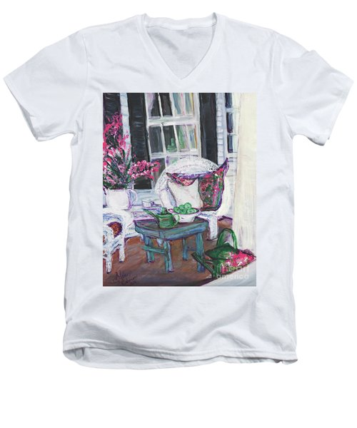 Afternoon At Emmaline's Front Porch Men's V-Neck T-Shirt by Helena Bebirian