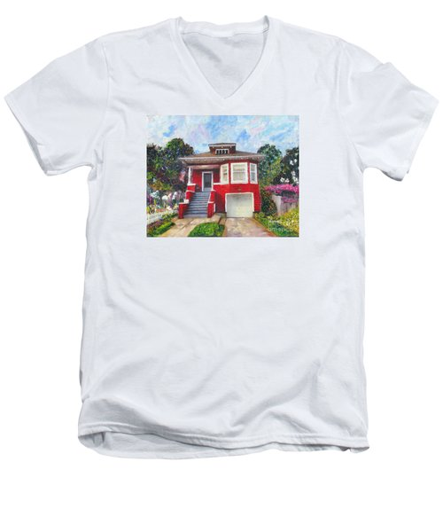 Men's V-Neck T-Shirt featuring the painting Colonial Revival High Basement Cottage 1907  by Linda Weinstock
