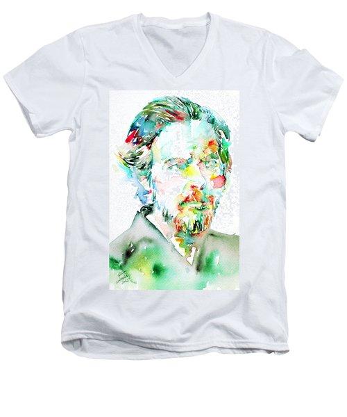 Alan Watts Watercolor Portrait Men's V-Neck T-Shirt by Fabrizio Cassetta