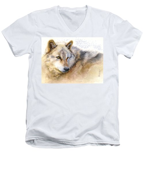 Men's V-Neck T-Shirt featuring the painting Alaskan Gray Wolf by Bonnie Rinier