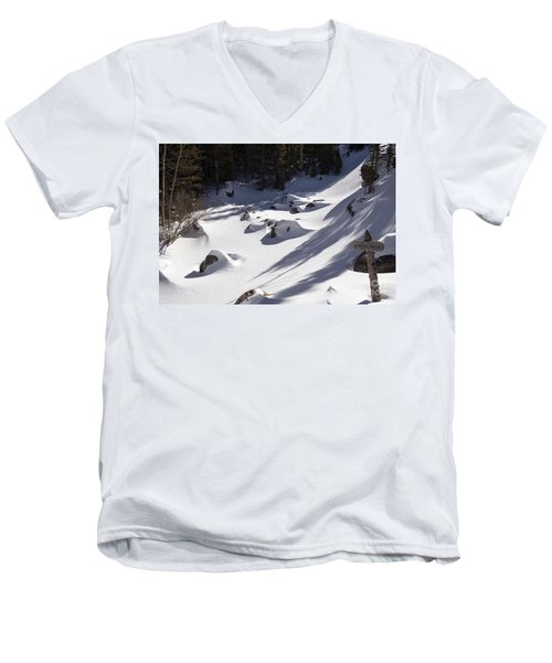 Alberta Falls In Estes Park Colorado Men's V-Neck T-Shirt by Loriannah Hespe