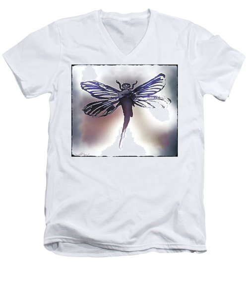 Alcohol Inks Purple Dragonfly Men's V-Neck T-Shirt