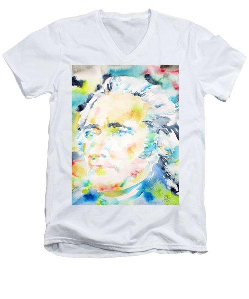 Alexander Hamilton - Watercolor Portrait Men's V-Neck T-Shirt by Fabrizio Cassetta