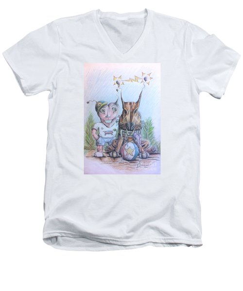 Alien Boy And His Best Friend Men's V-Neck T-Shirt by R Muirhead Art