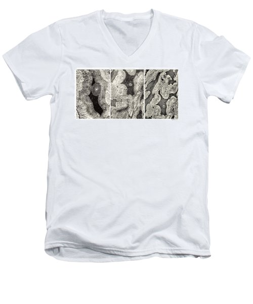 Alien Triptych Landscape Bw Men's V-Neck T-Shirt