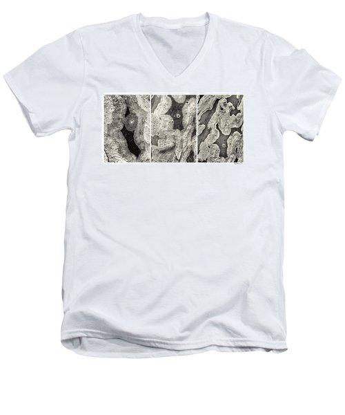 Alien Triptych Landscape Bw Men's V-Neck T-Shirt