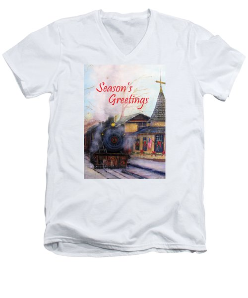 All Aboard At The New Hope Train Station Card Men's V-Neck T-Shirt by Loretta Luglio
