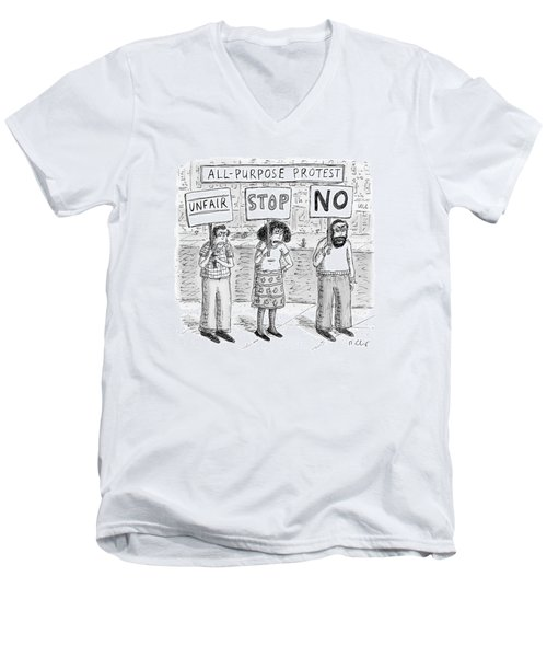 All-purpose Protest  -  Three Picketers Stand Men's V-Neck T-Shirt