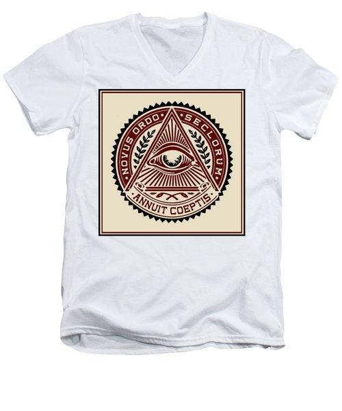 Men's V-Neck T-Shirt featuring the digital art All Seeing Eye by Vagabond Folk Art - Virginia Vivier