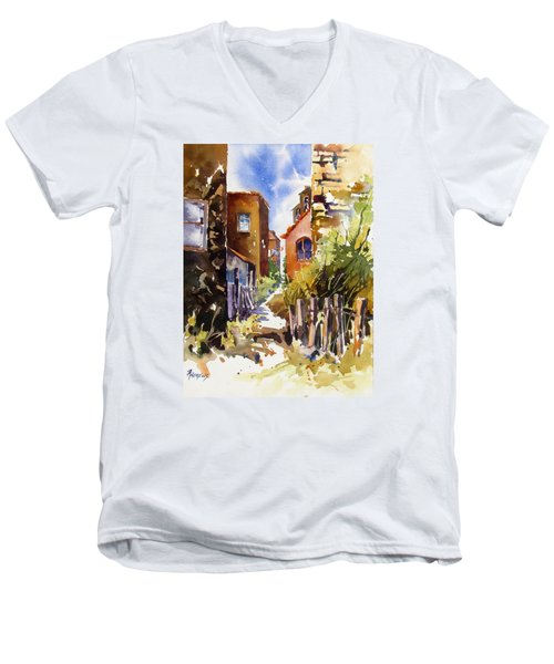 Men's V-Neck T-Shirt featuring the painting Alleyway Charm 2 by Rae Andrews