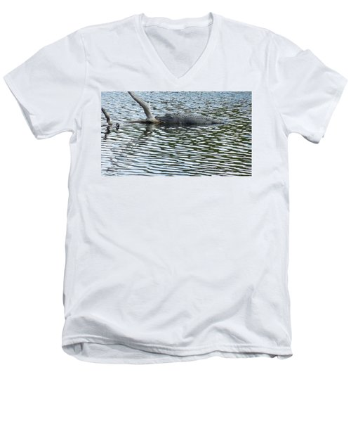 Men's V-Neck T-Shirt featuring the photograph Alligator Resting On A Log by Ron Davidson