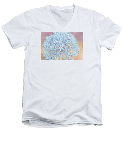 Men's V-Neck T-Shirt featuring the digital art Allium Bursting by Susan  McMenamin