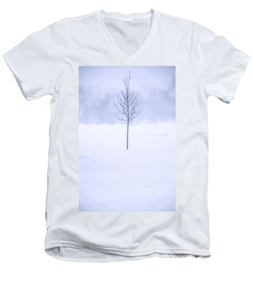 Alone In The Snow Men's V-Neck T-Shirt by Andrew Soundarajan