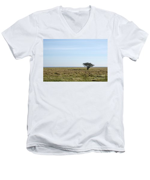 Alone Tree At A Coastal Grassland Men's V-Neck T-Shirt