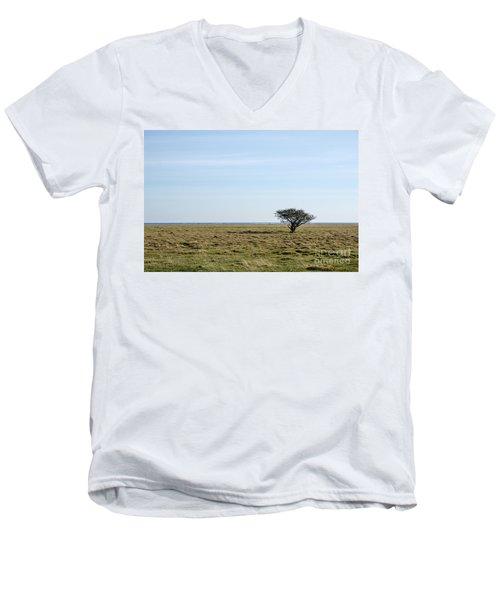 Alone Tree At A Coastal Grassland Men's V-Neck T-Shirt by Kennerth and Birgitta Kullman