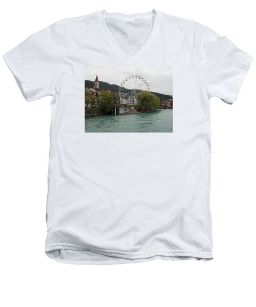 Along The River In Thun Men's V-Neck T-Shirt