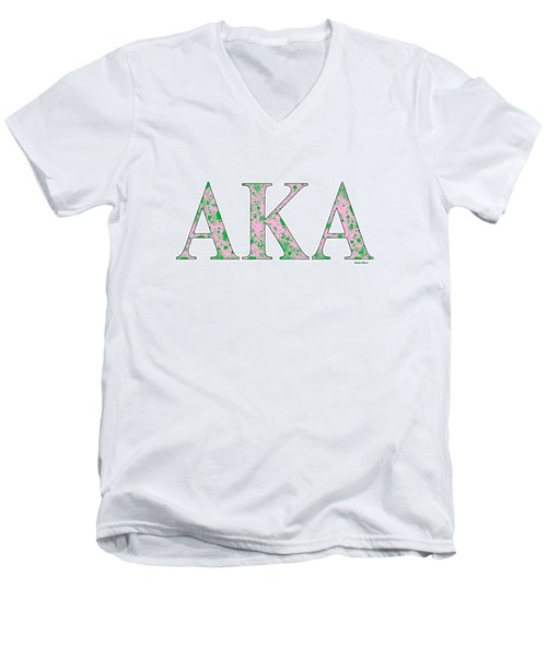 Men's V-Neck T-Shirt featuring the digital art Alpha Kappa Alpha - White by Stephen Younts