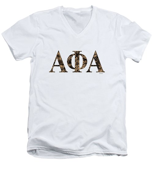 Men's V-Neck T-Shirt featuring the digital art Alpha Phi Alpha - White by Stephen Younts