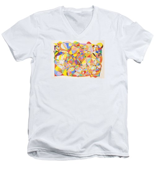 Men's V-Neck T-Shirt featuring the painting Alternate Realities by Stormm Bradshaw
