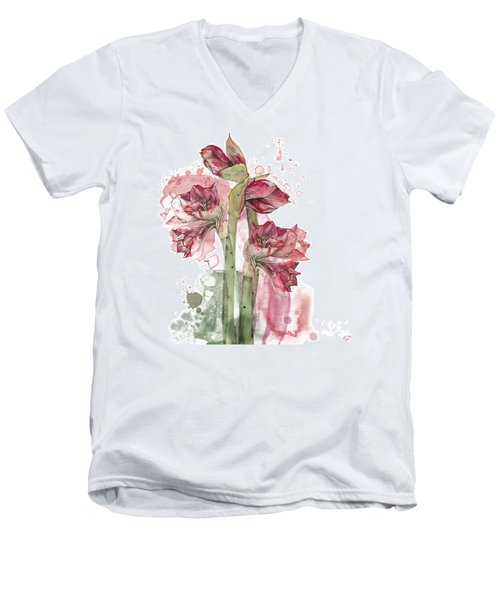 Men's V-Neck T-Shirt featuring the painting Amaryllis Flowers - 3. - Elena Yakubovich by Elena Yakubovich