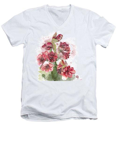 Amaryllis Flowers - 4. - Elena Yakubovich Men's V-Neck T-Shirt