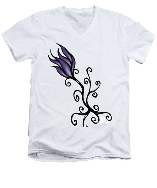 Men's V-Neck T-Shirt featuring the digital art Amathist Rose by Jamie Lynn