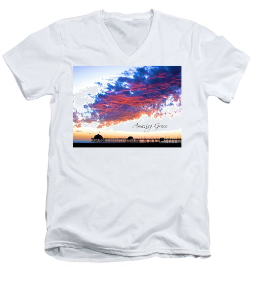 Men's V-Neck T-Shirt featuring the photograph Amazing Grace Fire Sky by Margie Amberge
