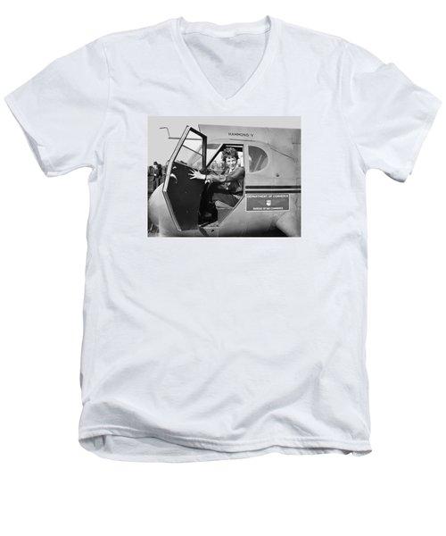 Amelia Earhart - 1936 Men's V-Neck T-Shirt