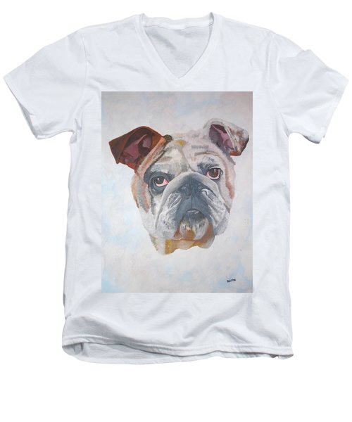 Men's V-Neck T-Shirt featuring the painting American Bulldog Pet Portrait by Tracey Harrington-Simpson