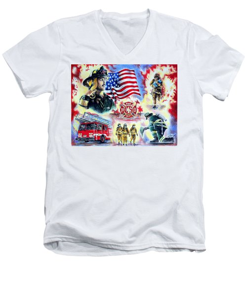 American Firefighters Men's V-Neck T-Shirt