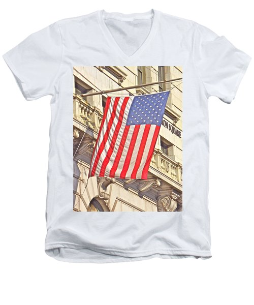 Men's V-Neck T-Shirt featuring the photograph American Flag N.y.c 1 by Joan Reese