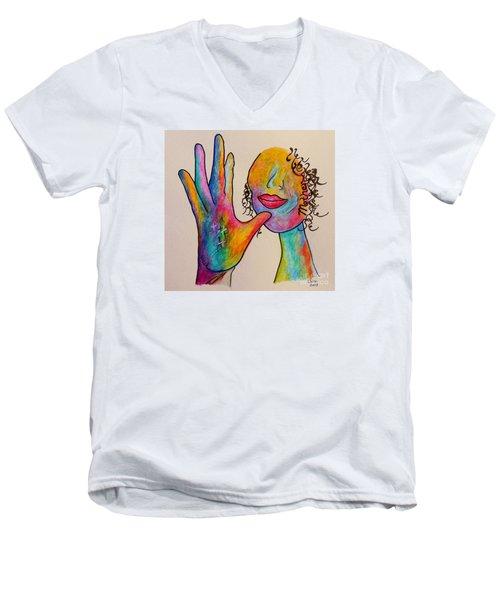 American Sign Language . . .  Mother Men's V-Neck T-Shirt by Eloise Schneider