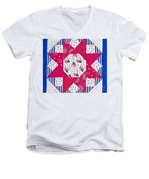 Americana Quilt Block Design Art Prints Men's V-Neck T-Shirt