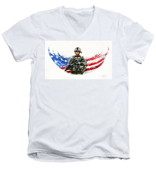 Americas Guardian Angel Men's V-Neck T-Shirt