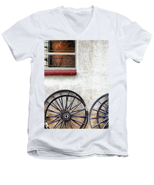 Men's V-Neck T-Shirt featuring the photograph Amish Buggy Wheels by Polly Peacock