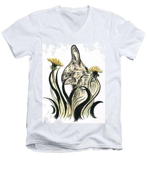 Rabbit- Amongst The Dandelions Men's V-Neck T-Shirt