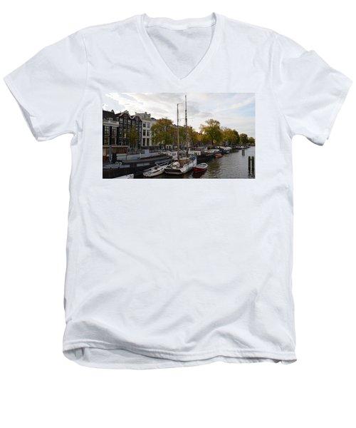 Amstel River Men's V-Neck T-Shirt by Cheryl Miller