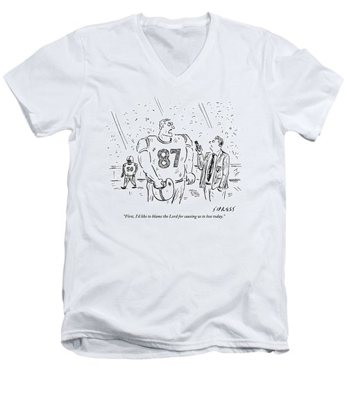 An Angry Football Player Is Being Interviewed Men's V-Neck T-Shirt