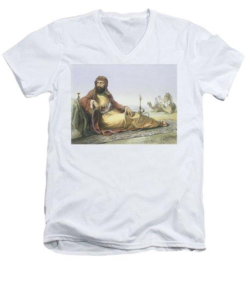 An Arab Resting In The Desert, Title Men's V-Neck T-Shirt