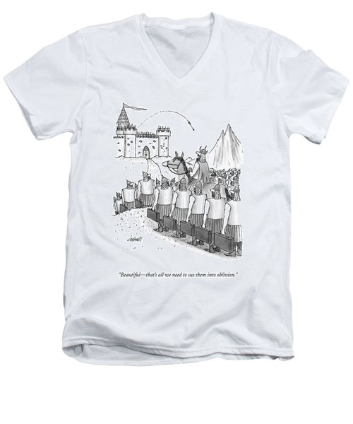An Army Of Vikings Hold Briefcases Men's V-Neck T-Shirt